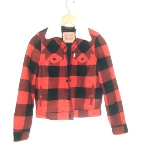 Levi's plaid shepra collar jacket size xs